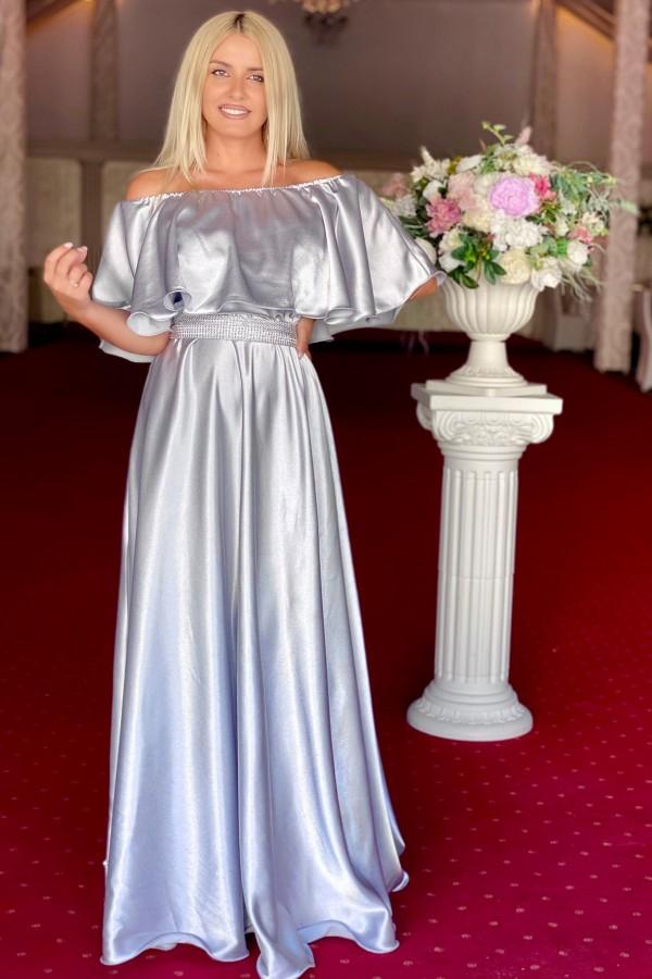 Rochie Andreea lunga in nuante de gri