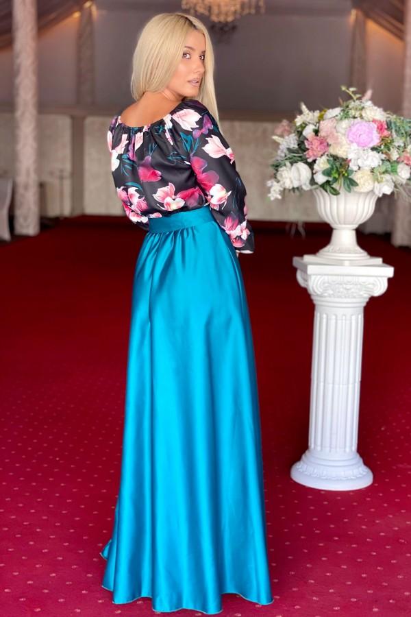 Rochie verde lunga cu imprimeuri florale Seleny