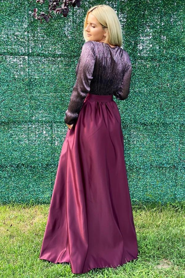 Rochie eleganta bordo lunga Deea