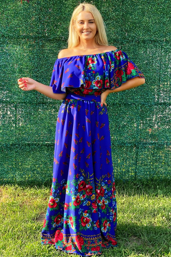 Rochie Agatha traditionala in nuante de albastru