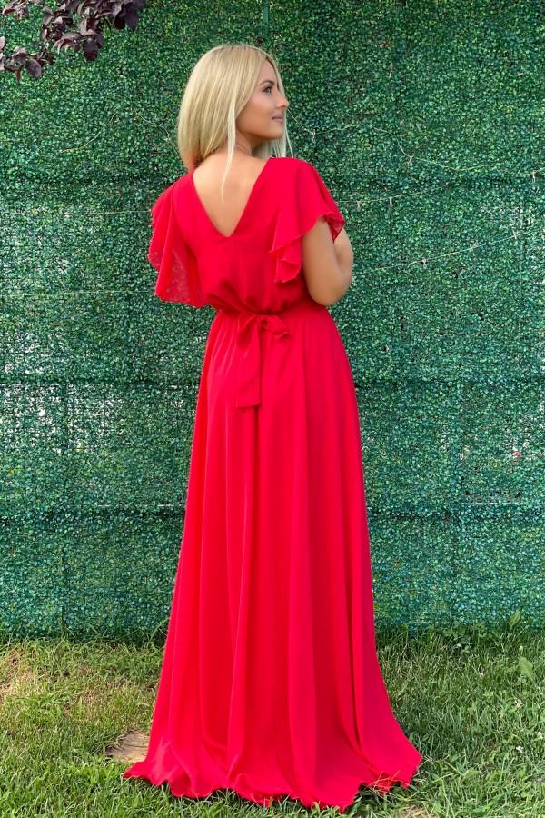 Rochie lunga Shakira rosie in stil elegant