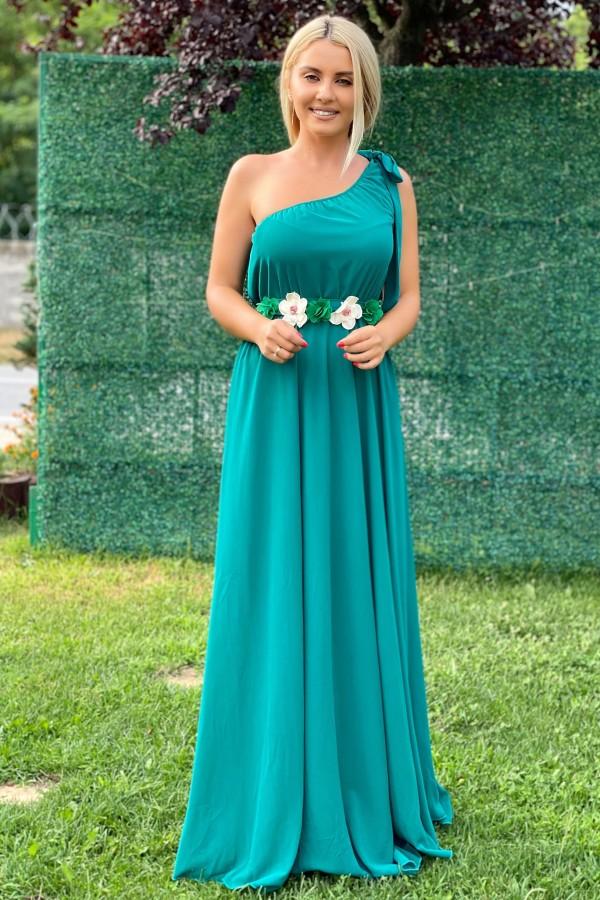 Rochie lunga Shakira verde in stil elegant