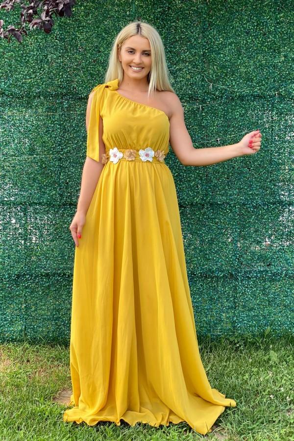 Rochie lunga Shakira galbena in stil elegant