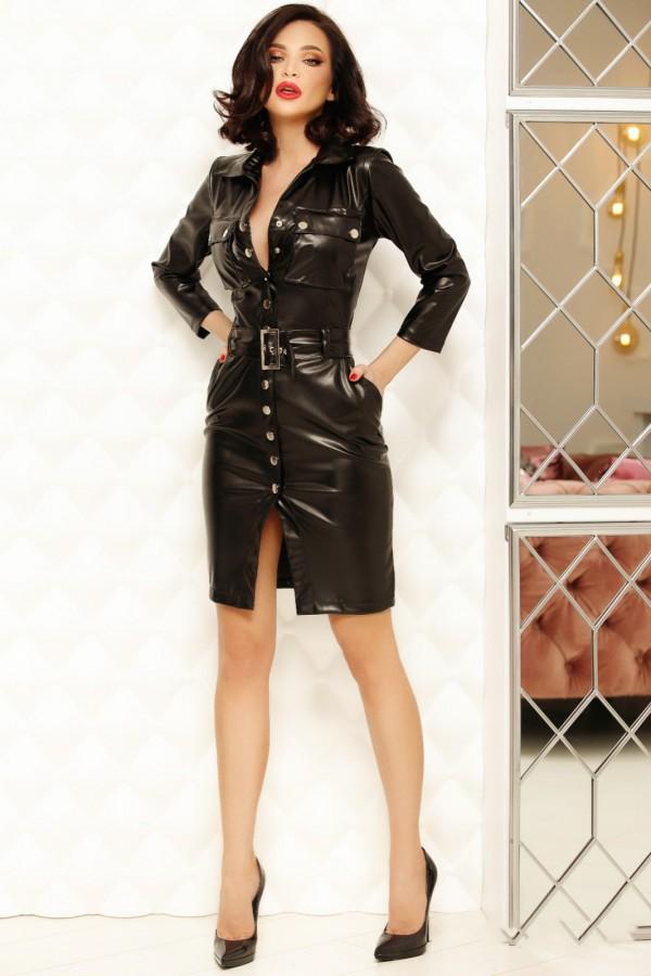 Rochie Zara neagra din piele ecologica
