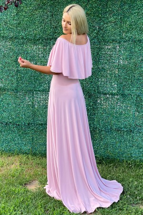 Rochie Sorana roze cu o maneca lunga