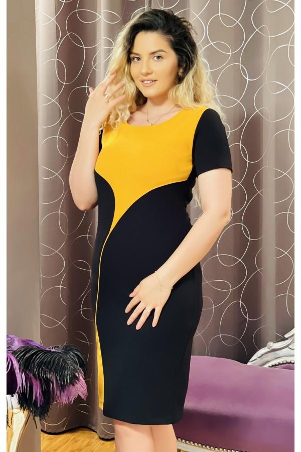 Rochie Alina neagra cu mustar eleganta