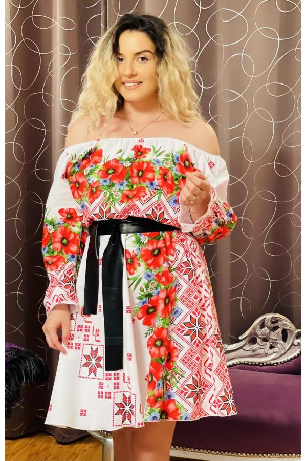 Rochie alba cu imprimeuri florale Sorana