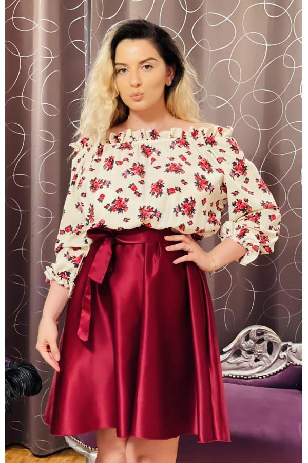 Rochie bordo si crem cu imprimeuri florale Seleny