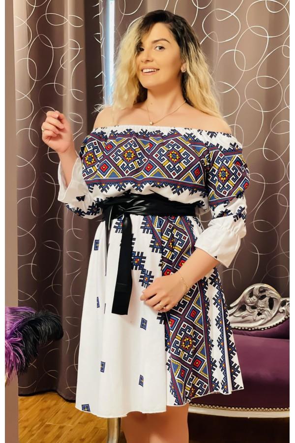 Rochie alb cu albastru cu imprimeuri florale Sorana