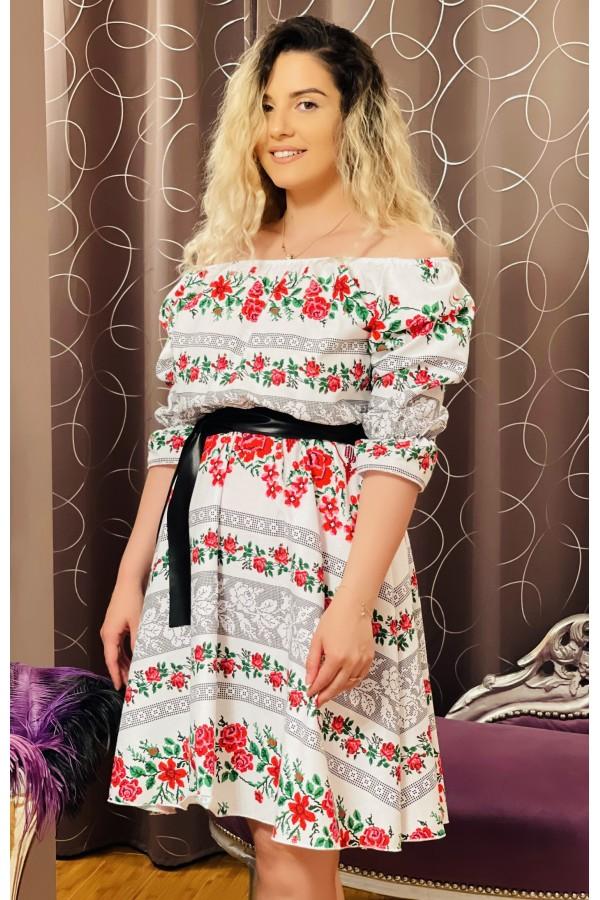 Rochie cu imprimeuri florale alb si rosu Sorana