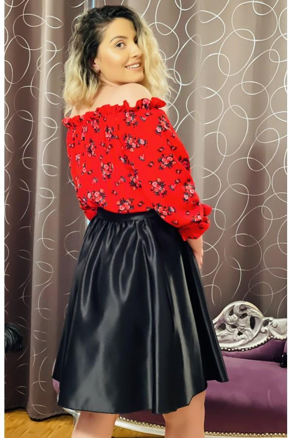 Rochie neagra lunga cu imprimeuri florale Daria