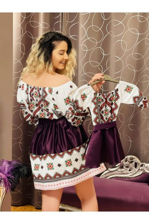 Set mama fiica in stil traditional mov si alb