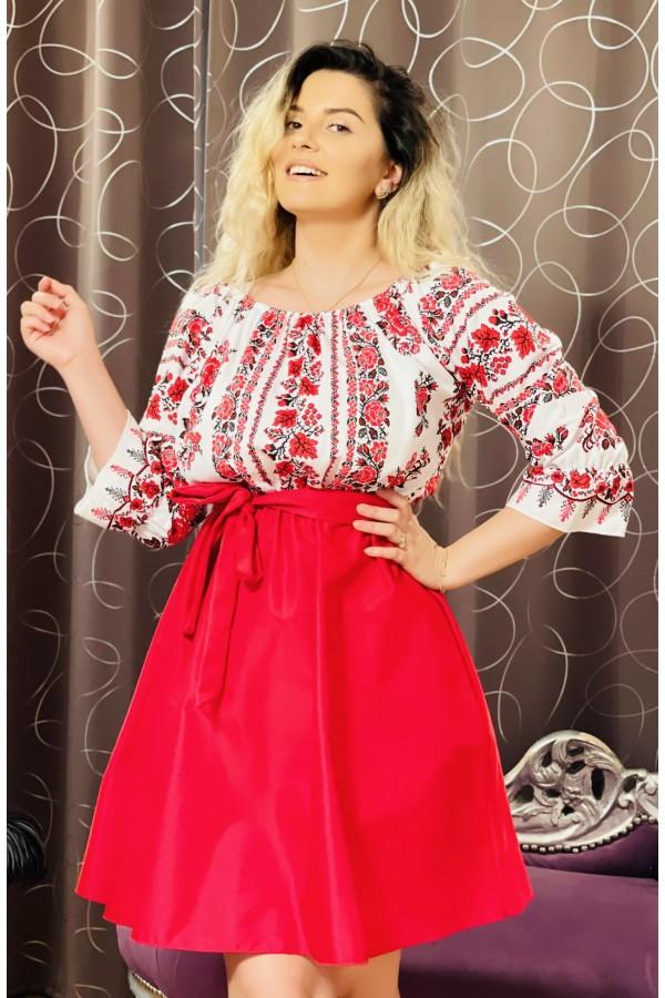 Rochie rosie cu imprimeuri florale Seleny