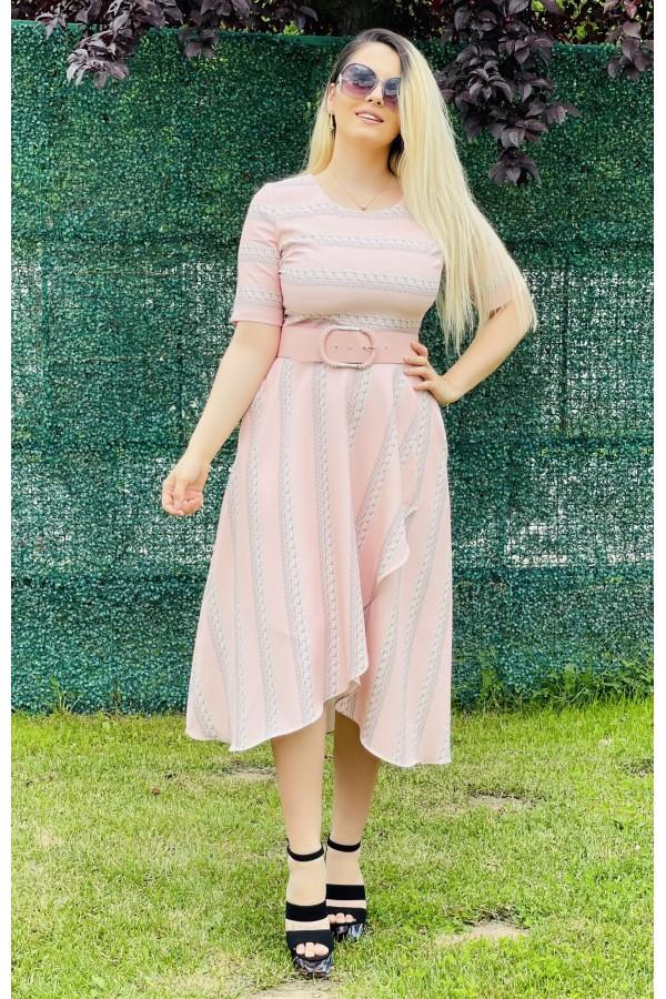 Rochie Raissa roze midi in clos eleganta