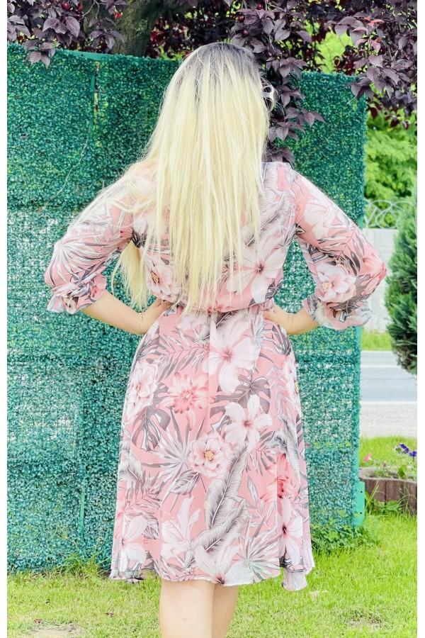 Rochie in clos Lara roz multicolora