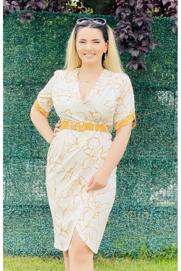 Rochie Antonia conica in nuante de mustar si alb
