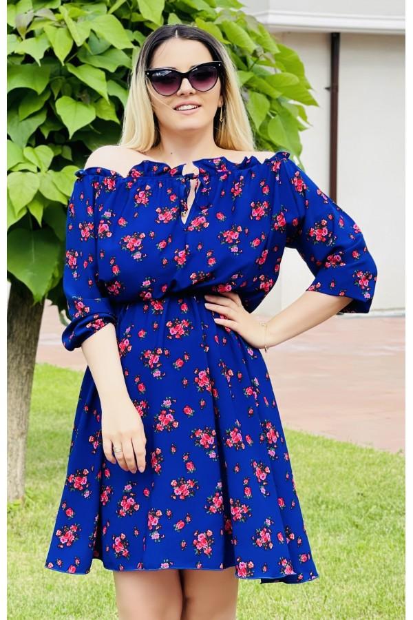 Rochie Sara albastra eleganta
