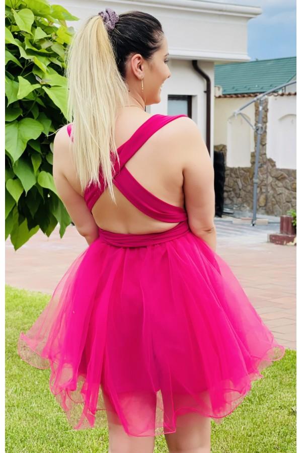 Rochie Cristina roz cu tul