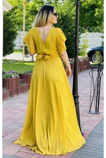 Rochie Xonia galbena lunga eleganta