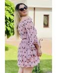 Rochie Sara in nuante de roz cu imprimeuri