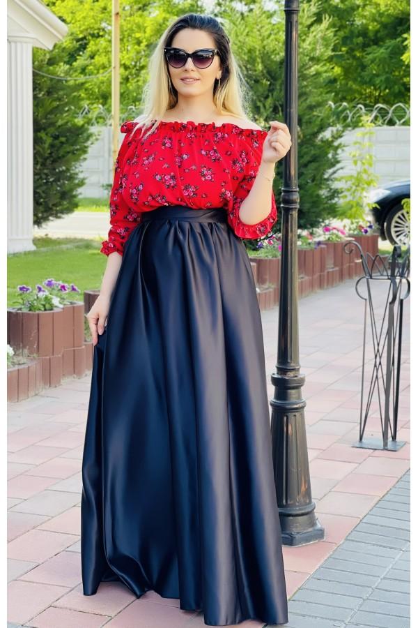 Rochie in nuante de rosu lunga cu imprimeuri florale Selena