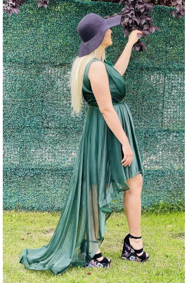 Rochie Elen verde cu trena eleganta