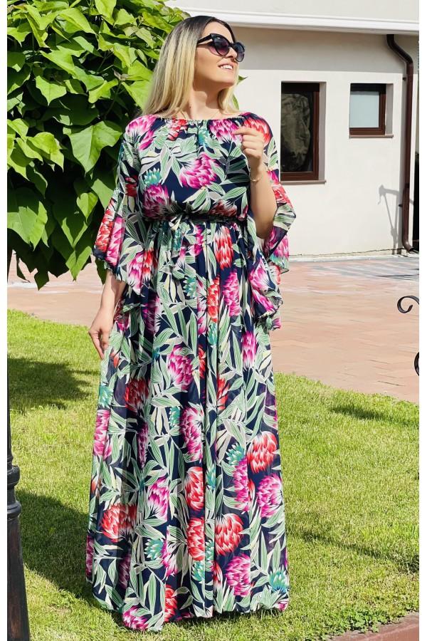 Rochie lunga cu imprimeuri Cecilia eleganta