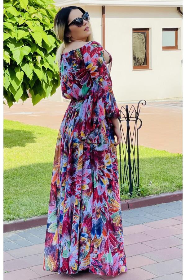Rochie lunga cu imprimeuri Sorana eleganta