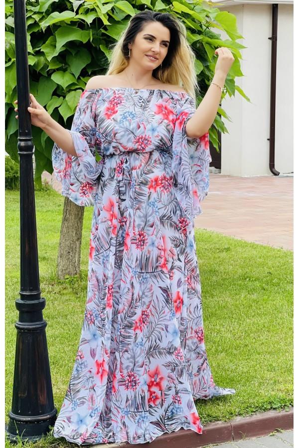 Rochie lunga cu imprimeuri Renata eleganta
