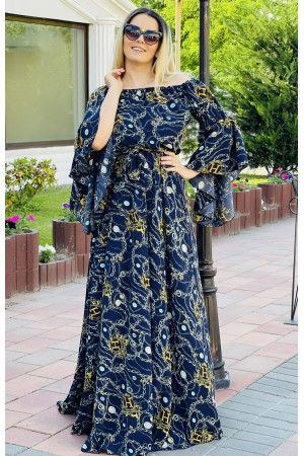 Rochie lunga eleganta Rania cu model cu lanturi
