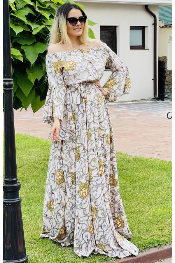 Rochie lunga eleganta Zonia cu model cu lanturi