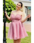 Rochie Bianca roz in clos cu paiete
