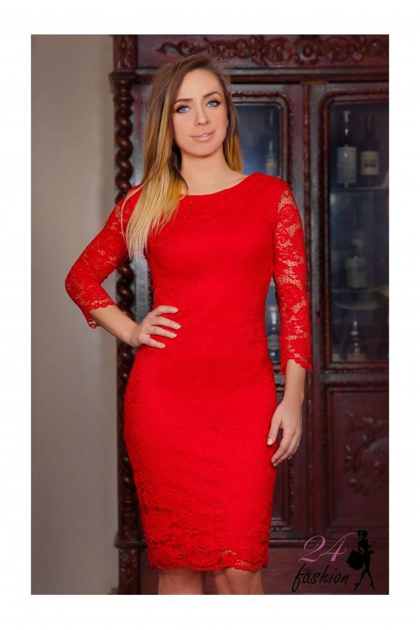 Rochii Midi Red Lace