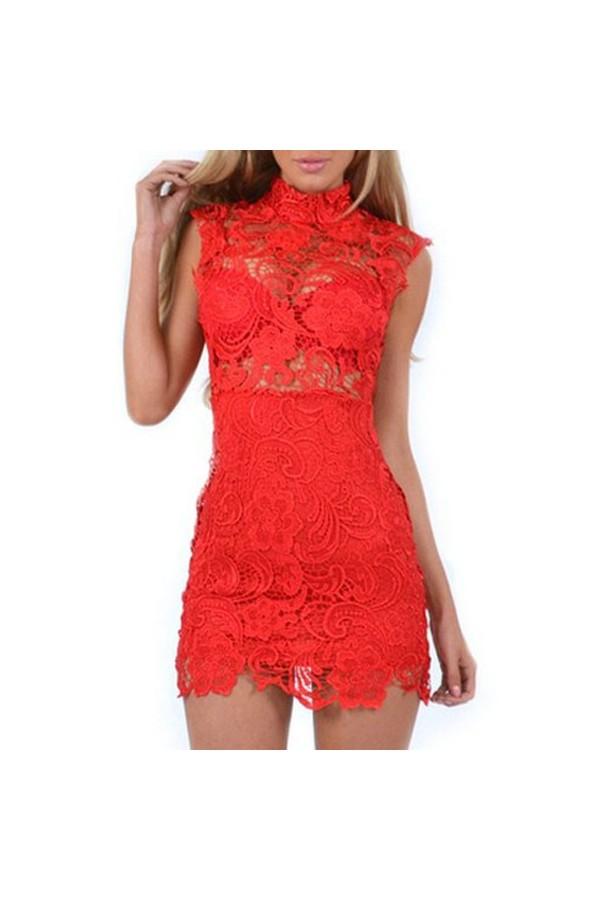 Rochie din Dantela Lace Vintage Red