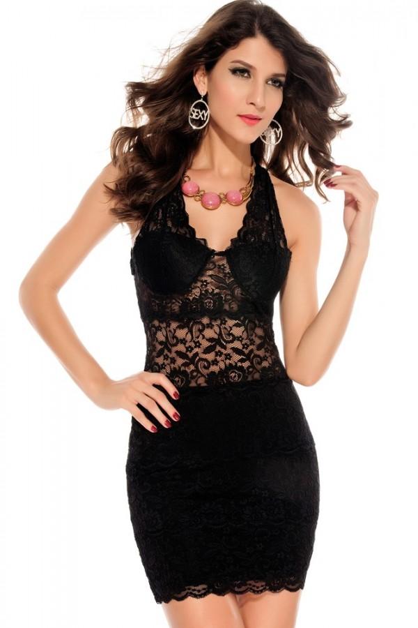Rochie De Seara Purple Lace Black