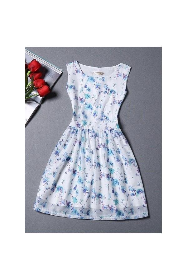 Rochie Eleganta New Flowers Blue