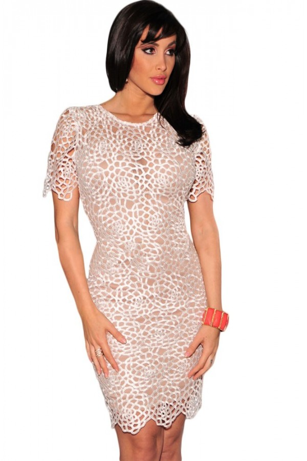 Rochie Eleganta White Embroidered Lace