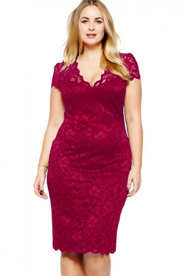 Rochie XXL Burgundy Lace