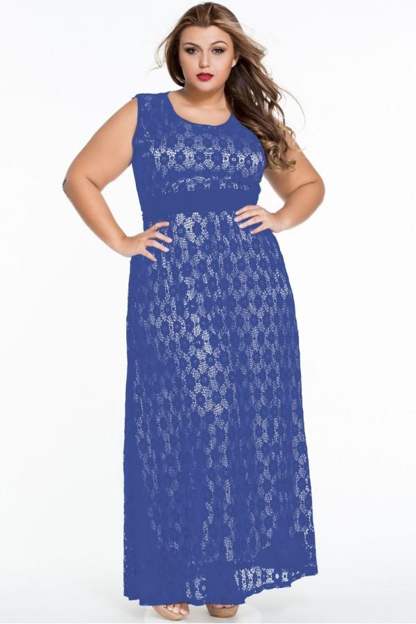 Rochie Din Dantela Blue Flowers XXL