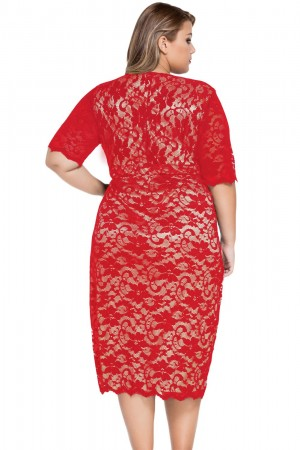 Rochie Din Dantela Red Intuition XXL