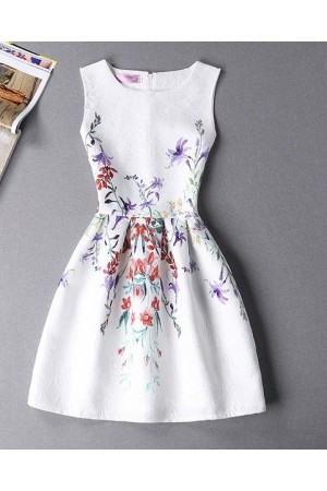 Rochie Eleganta White Purple Flowers