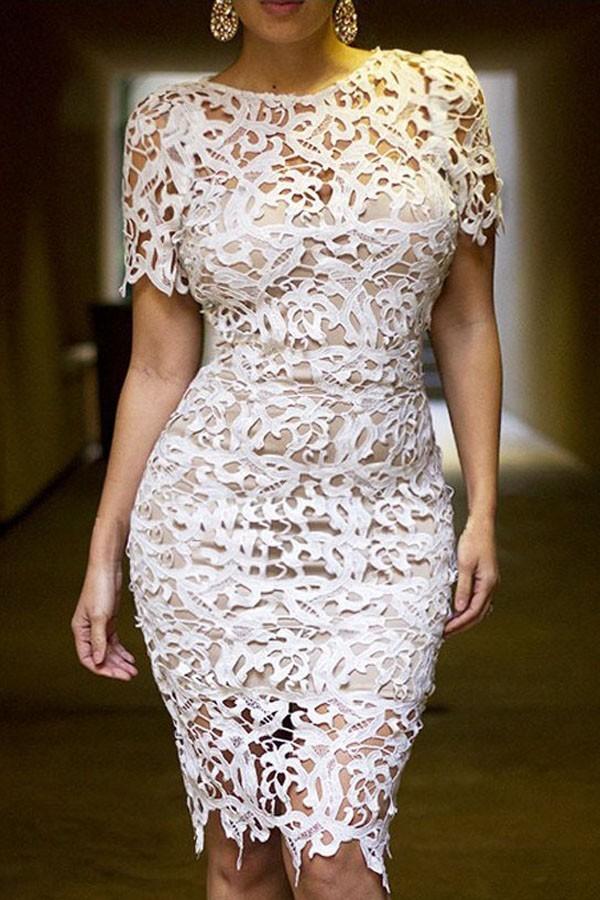 Rochie Din Dantela White Shiny