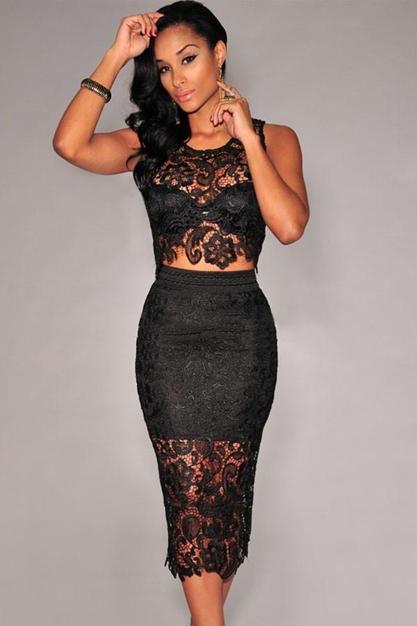 Compleu Elegant Black Lace
