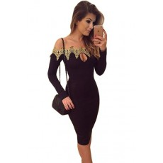 Rochie Gold Embroidered