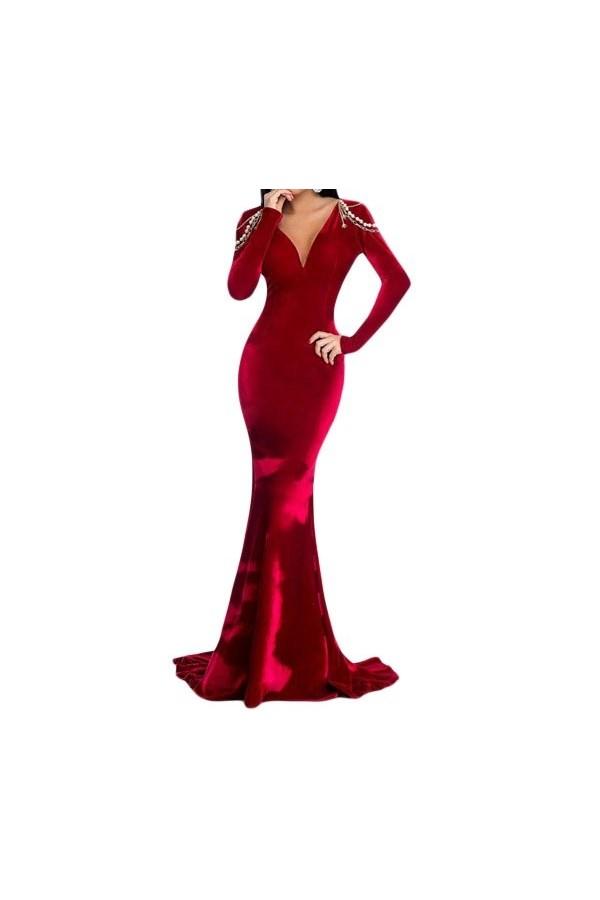 Rochie Long Velvet Red