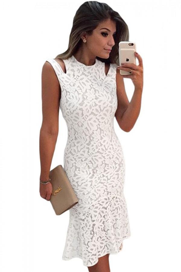 Rochie Eleganta White Shoulder