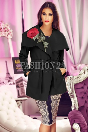 Palton 3D Black Rose