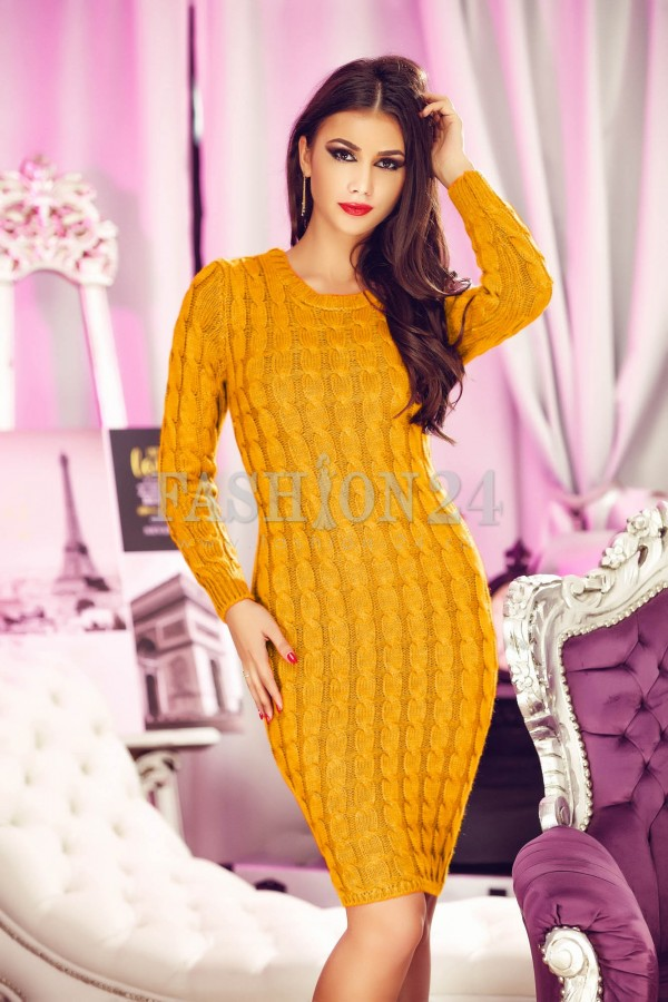 Magazin Online Haine - Rochie Eleganta Mustard Sensitive -Fashion-4u.Eu