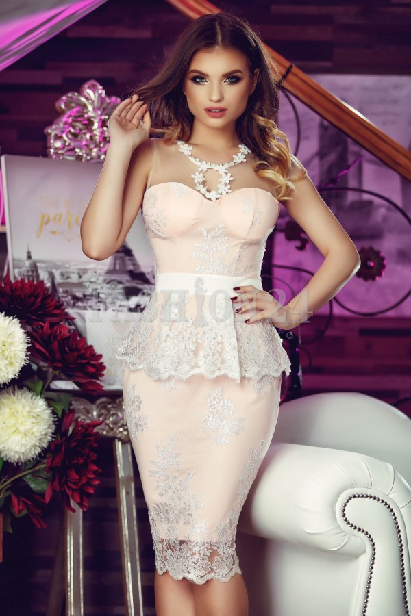 Rochie Eleganta Pink Peplum