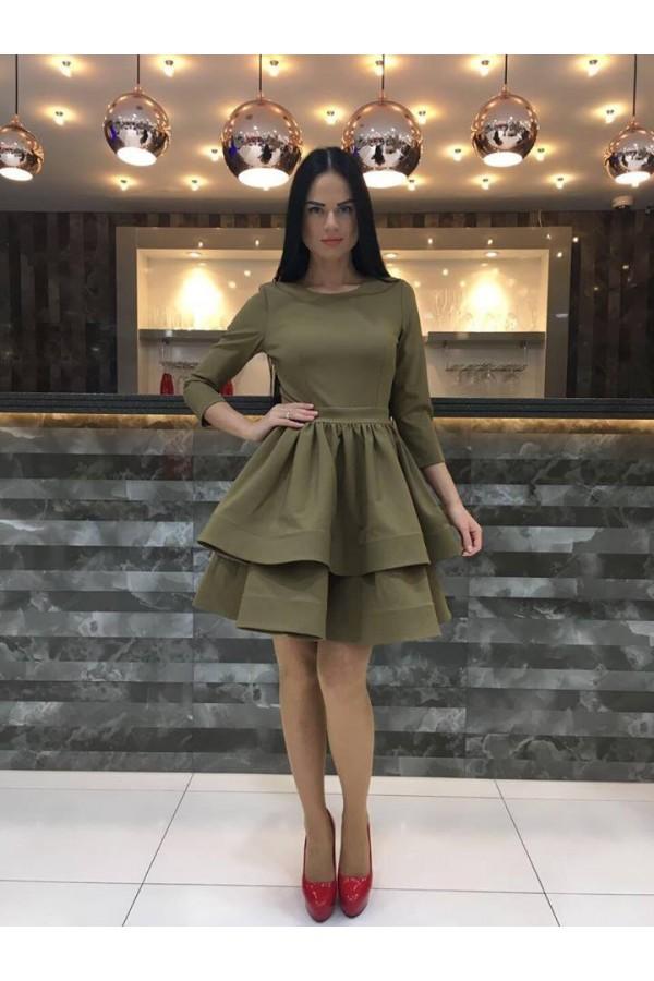 Rochie Eleganta Khaki Ruffles